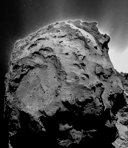 Black and white close up of Comet 67P