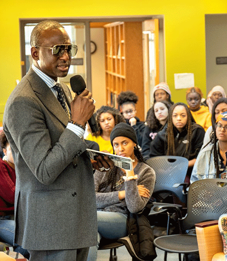 Yusef Salaam speaks to students