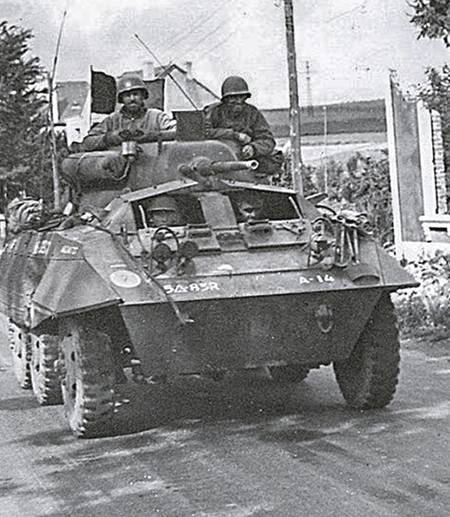 Tank on city street, black and white image