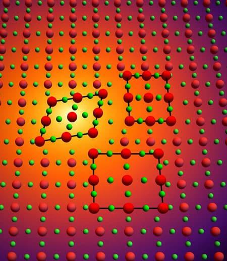 Colored balls representing atoms in a lattice