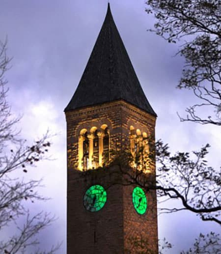 McGraw clock tower colored green