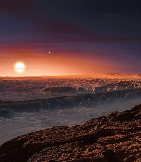 Artist's rendition of the surface of Proxima b