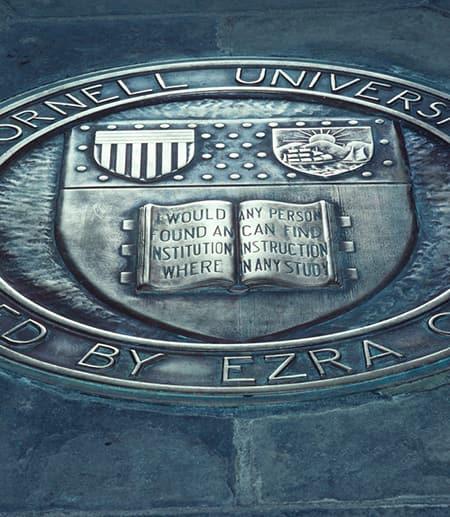 Carved metal disk set in stone