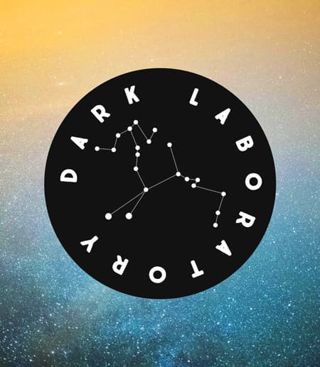 Dark Laboratory Logo with a starry sky in the background
