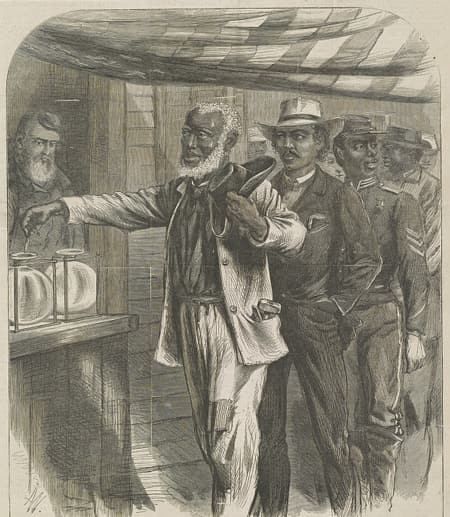 """The first vote"" / AW [monogram] ; drawn by A.R. Waud. African American men, in dress indicative of their professions, in a queue waiting their turn to vote."