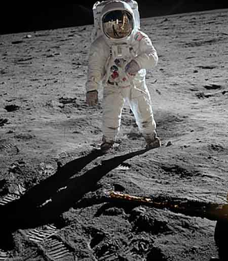 Buzz Aldrin in a spacesuit on the Moon