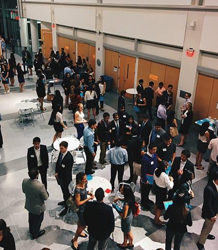 Students meeting alumni