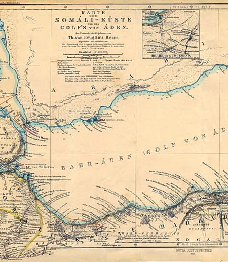 German map showing the Gulf of Aden around 1860. Credit: By August Heinrich Petermann (Somaliland and Aden: Images from the Past) [Public domain], via Wikimedia Commons