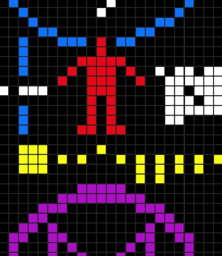 Detail of the visual depiction of the Arecibo message