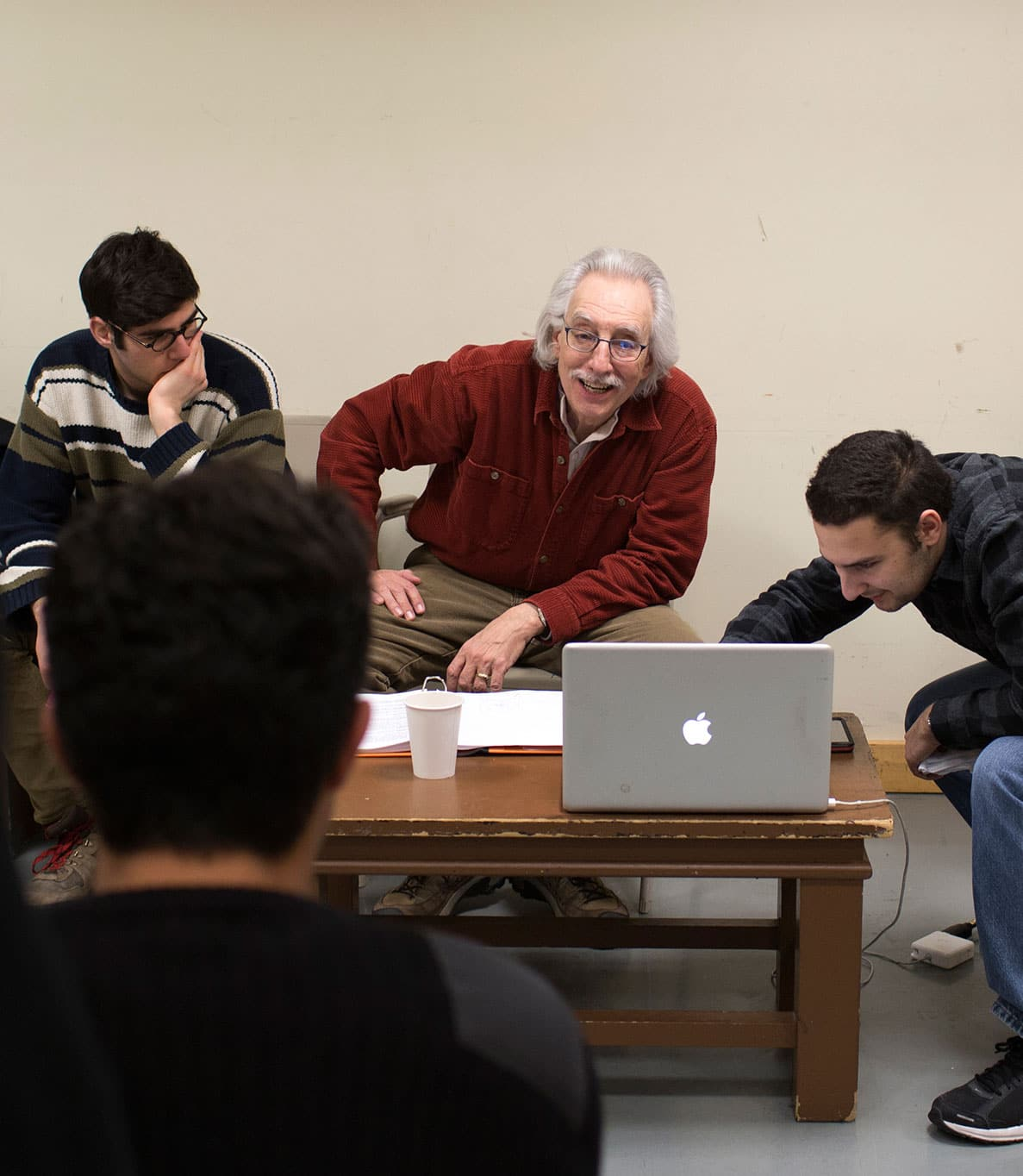 Bruce Levitt with a group of students