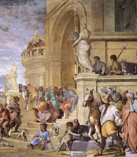 Julius caesar holding court, from a painting by Andrea del Sarto - Triumph of Caesar