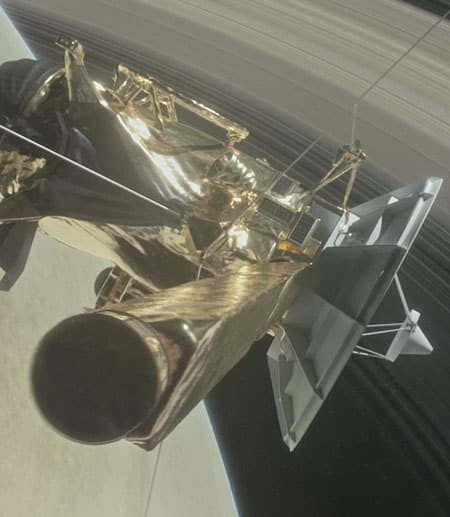 Cassini spacecraft with Saturn's rings in background. NASA image