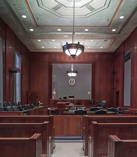 A large courtroom