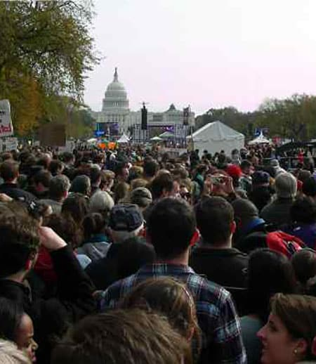 Protesters in a crowd in Washington DC