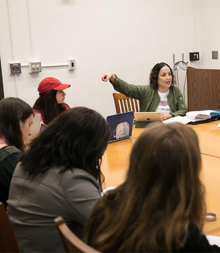 Professor Ella Diaz with students
