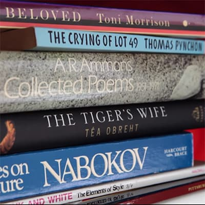 Book spines.