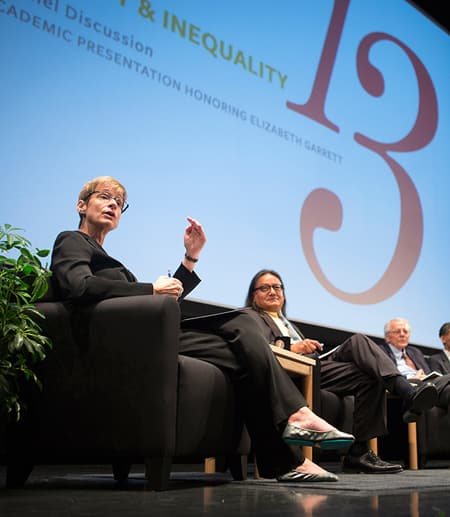 A discussion panel of four people