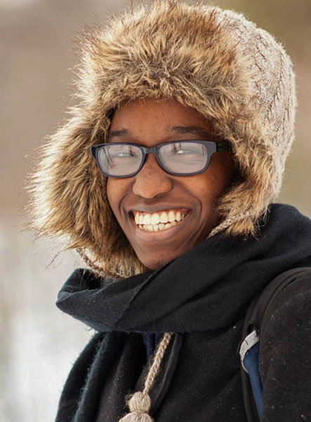 Cornell student in cold weather