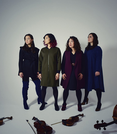 Aizuri Quartet, featuring Ariana Kim, far left.