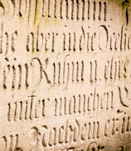 Latin inscriptions on wall