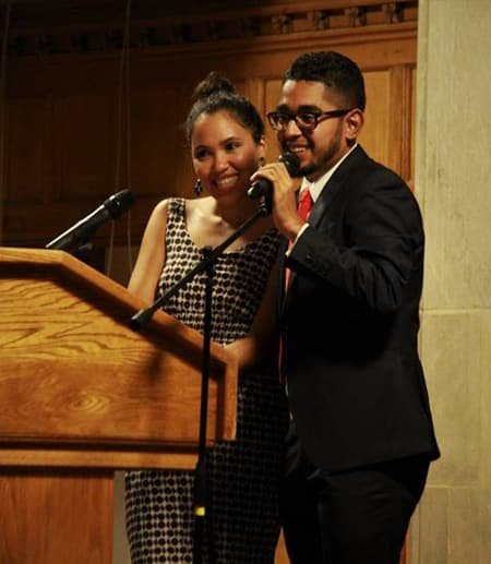 Hosts Estefani Maria Romano '19 and Irving Torres-Lopez '18