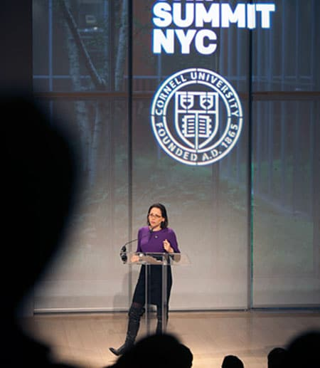 Kathy Savitt '85 speaks to alumni, students, faculty and entrepreneurs in October at Entrepreneurship@Cornell's summit in New York City. Photo: Jason Koski/University Photography.