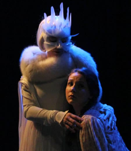 The Snow Queen in costume with another actor