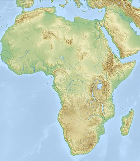 Green, brown and blue map of Africa showing no borders