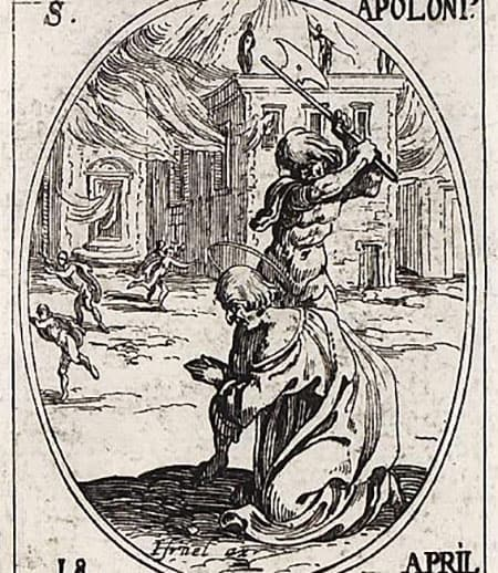 Image of the Martyrdom of Saint Apollonius of Rome: executioner standing over Apollonius with an axe poised to fall, while Apollonius kneels at his feet