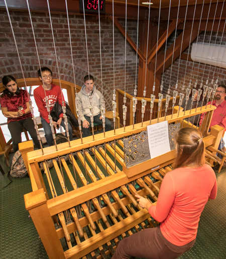 Students watch as their chimes compositions are played