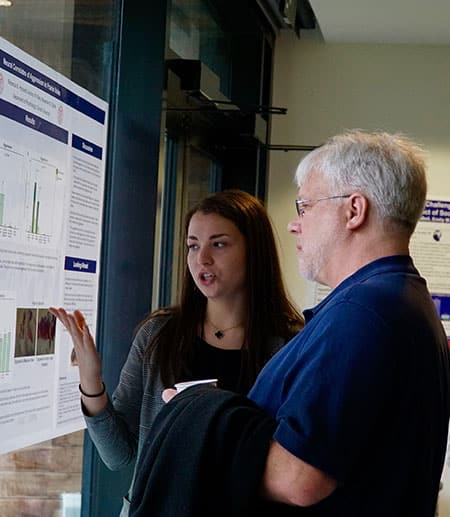 "Professor David Smith asks Rebecca Horotwitz about her independent research project (""Neural correlates of aggression in prairie voles"") in Professor Alex Ophir's lab."