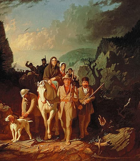 Daniel Boone holding rifle and leading a mounted party of settlers