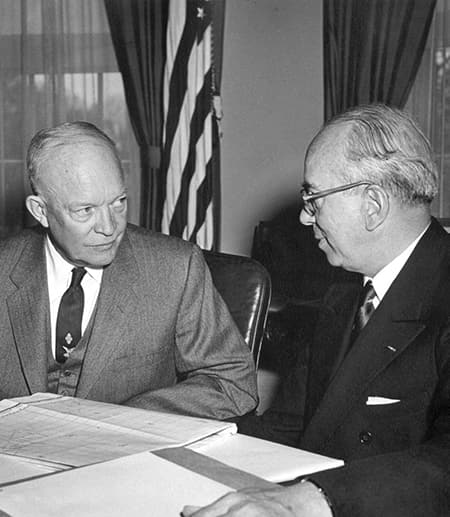 President Dwight Eisenhower in 1954, talking with Lewis L. Strauss, chairman of the Atomic Energy Commission