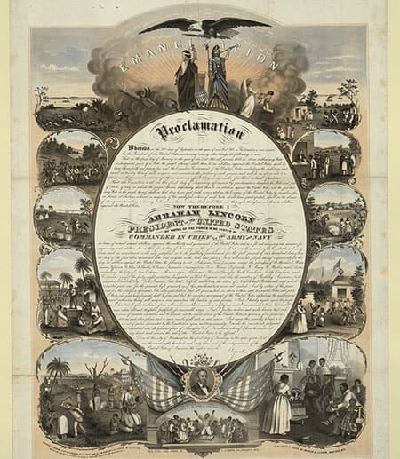 Print shows at center the text of the Emancipation Proclamation with vignettes surrounding it; on the left are scenes related to slavery and on the right are scenes showing the benefits attained through freedom; also shows Justice and Columbia at the top