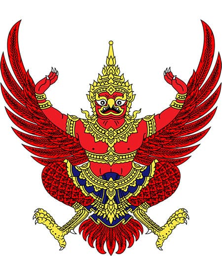 A figure with wings and bird feet and the torso of a man, with Thai jewelry and crown