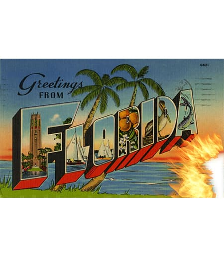 postcard of florida burning