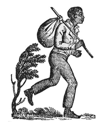 Illustration of a man with a bindle stick