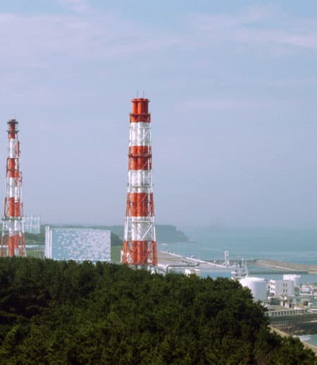 Fukushima I nuclear power plant before the 2011 explosion, with ocean in the background