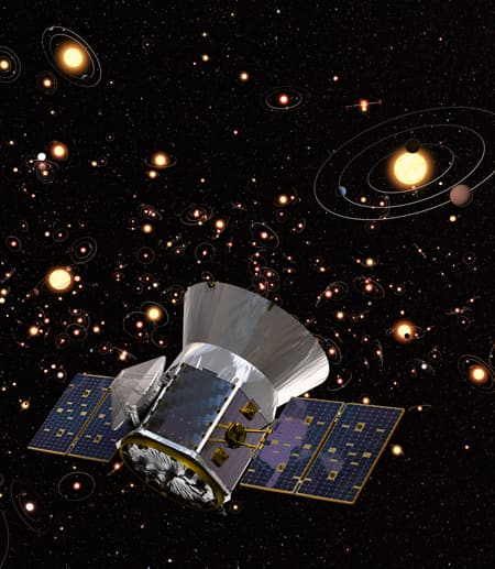 Artist's rendition of TESS against a backdrop of stars