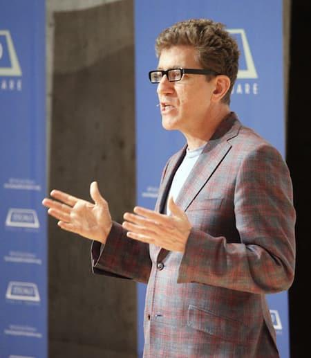 professor speaking to crowd