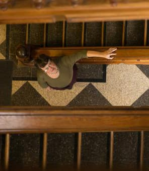 Mary Beth Norton in hallway