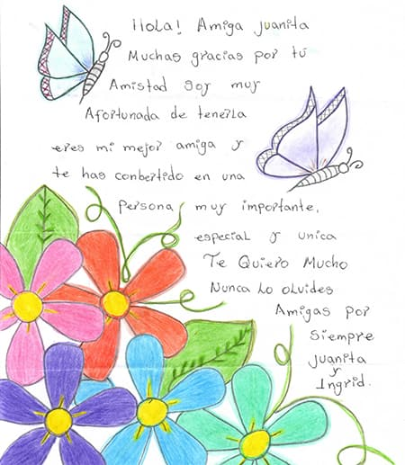 letter in spanish with flowers