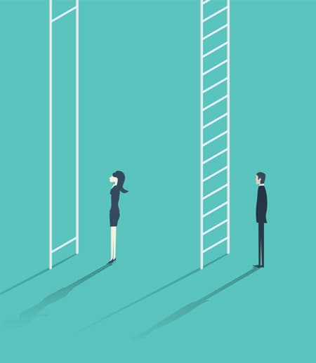 Illustration showing the ladders men and women have to climb in their careers. However, the women's ladder is impossible to climb.