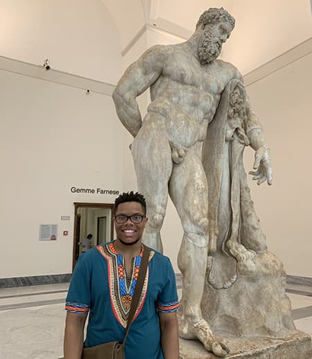 Joshua Johnson and a classical statue