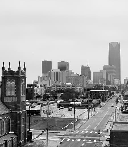 City skyline, black and white