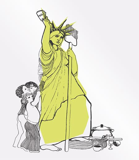 Image of Lady Liberty with children tugging on her gown