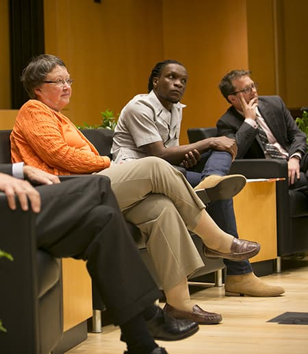 """""""Transformative Humanities: Faculty Reflections on Life-Changing Creative Works"""" panel featured poet Ishion Hutchinson, historian Mary Beth Norton and theorist Paul Fleming celebrating the dedication of Klarman Hall"""