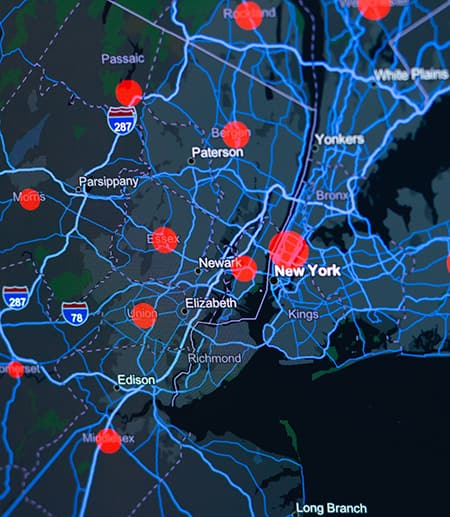 Dark map of New York, red data points