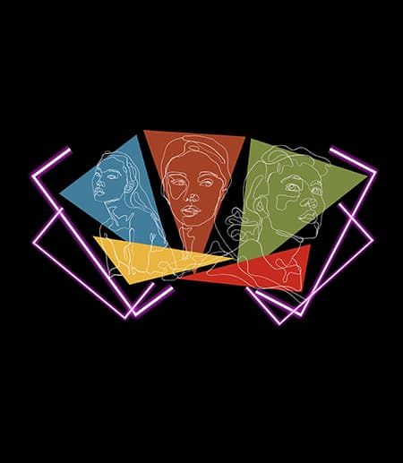colorful triangles with faces sketched on each; black background