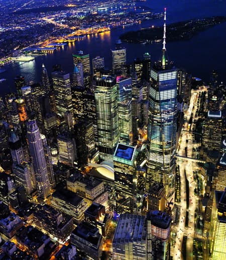 Arial view of NYC skyline at night